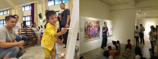 行深工作室陳鵬文於新北臉部平權展帶領大小朋友進行互動藝術創作