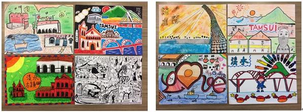 淡水區新市國小四年1班孩子們的作品,色彩鮮艷、線條大膽,令人驚艷!