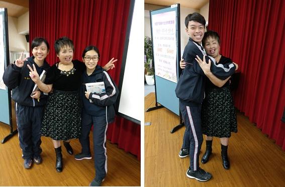 平鎮高中同學在演講後熱情地與惠麗姊擁抱合照